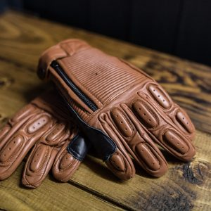 Brown ribbed leather motorcycle gloves