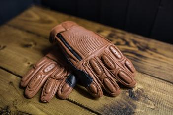 Brown ribbed leather gloves